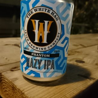 Blue & White can on a wooden plank